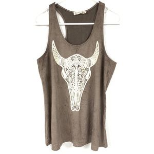 Bear Dance Tank Top Racerback Bull Skull Large